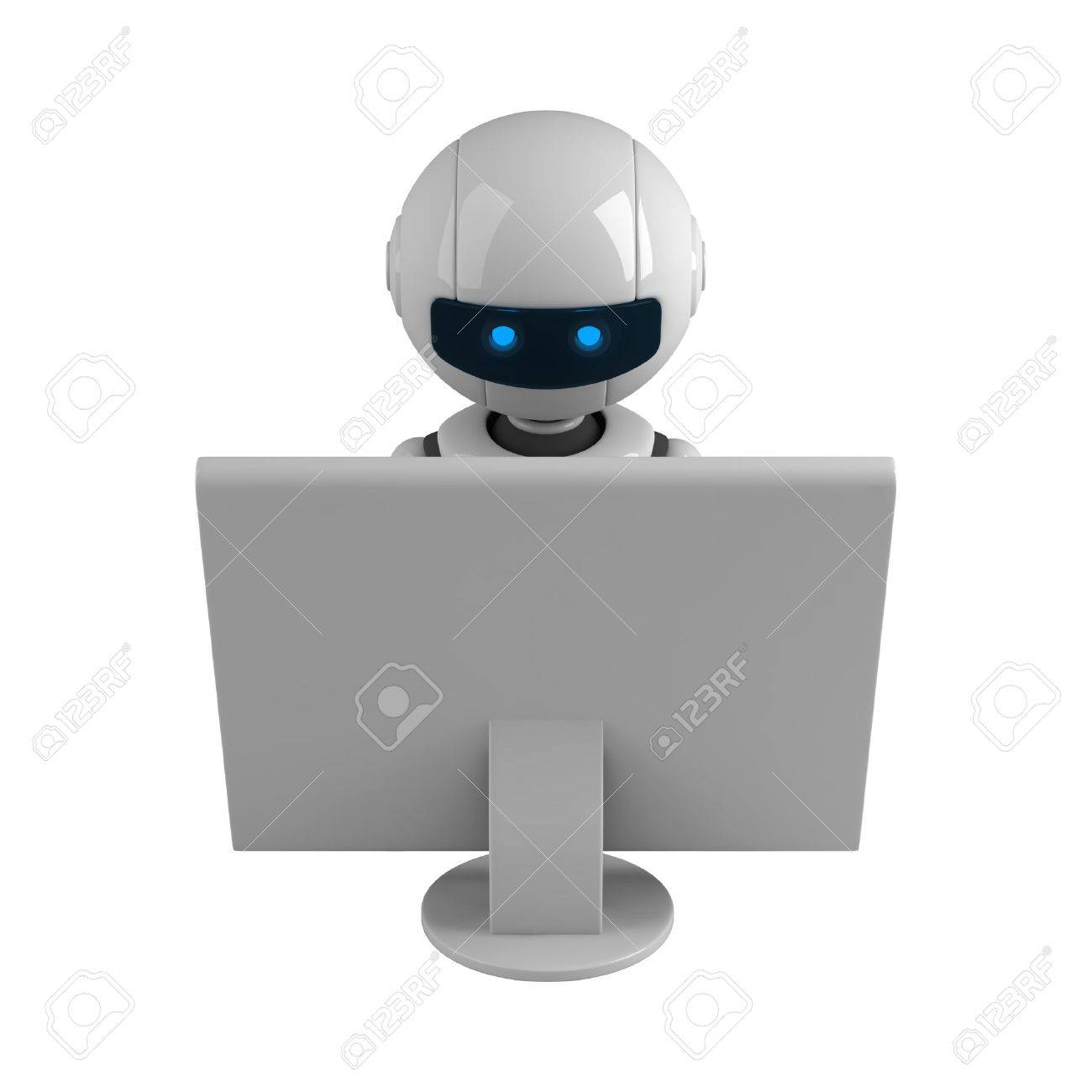 Funny robot sit and monitor Stock Photo - 10065222