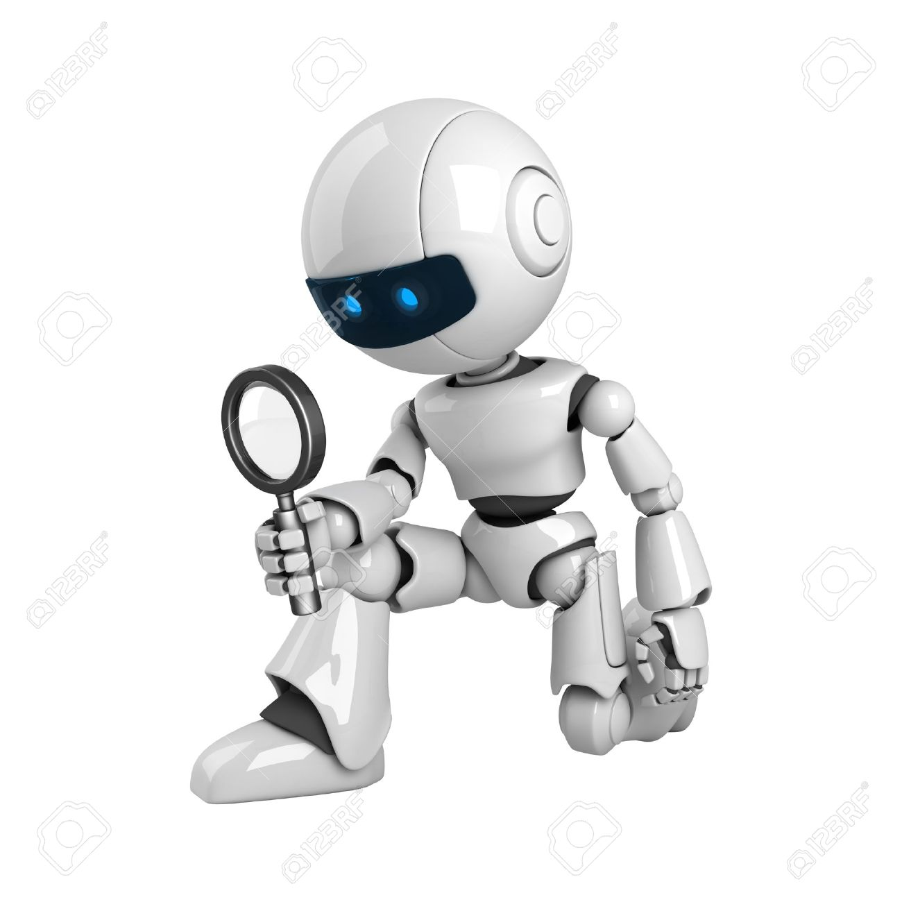 Funny robot with magnifying glass Stock Photo - 10065447