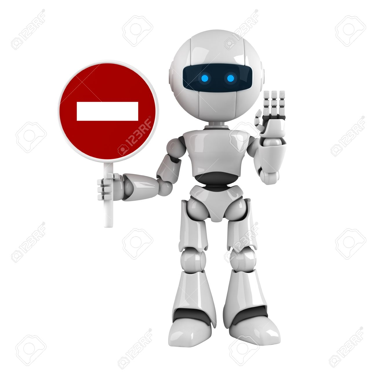 Funny robot stay with road sign and show stop Stock Photo - 10065426