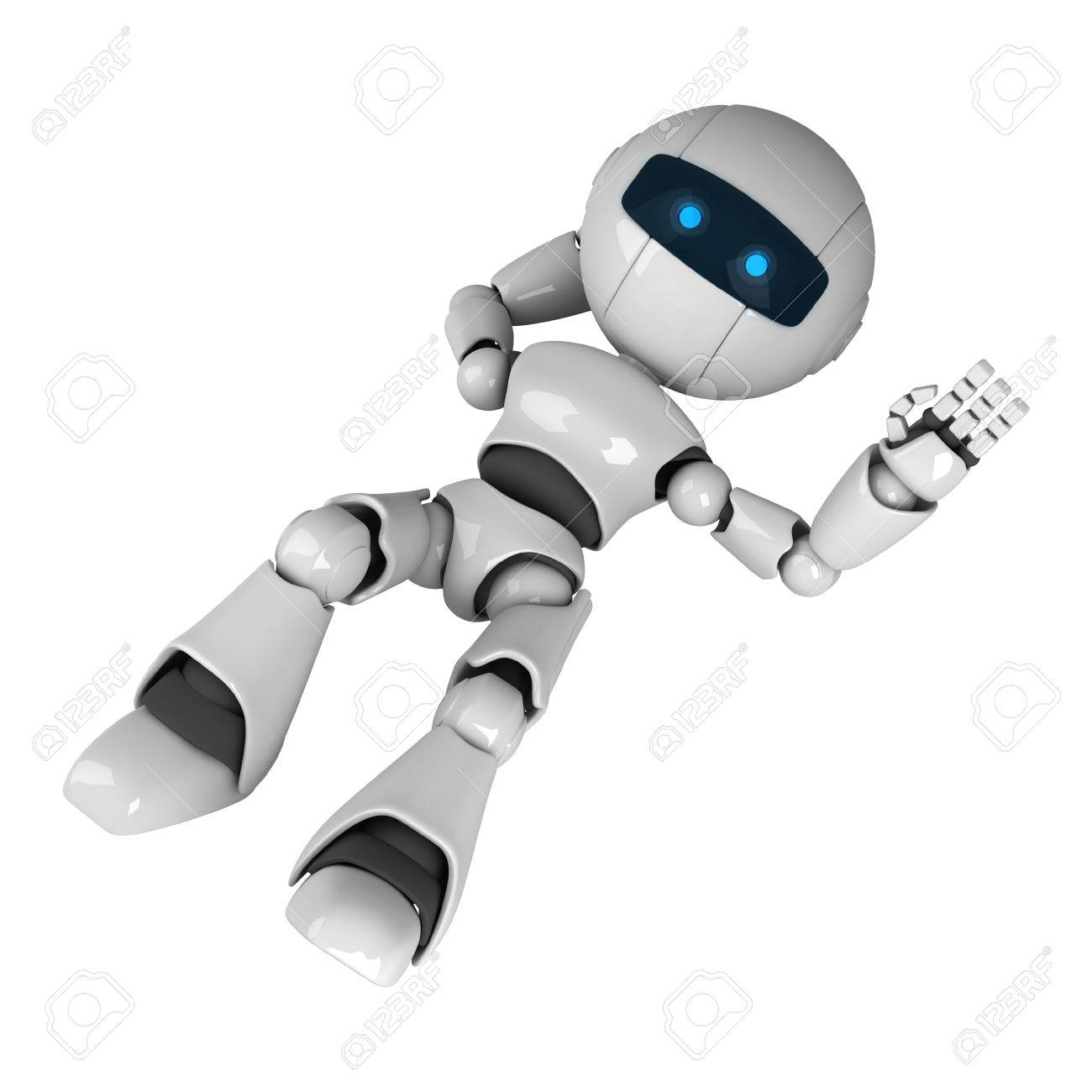 Funny white robot lie and show hello Stock Photo - 10042446