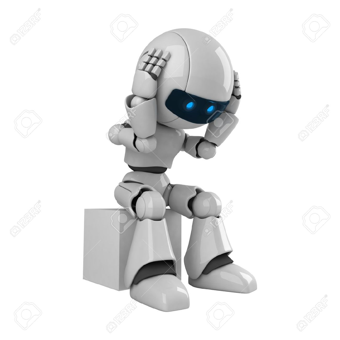 Funny robot sit Stock Photo - 10042497