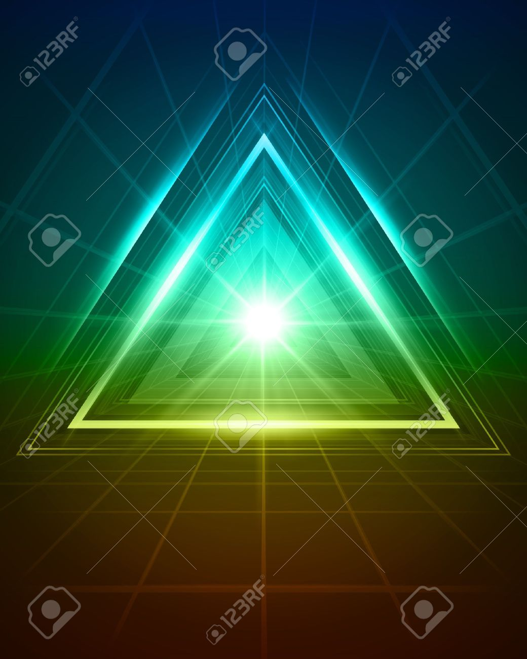 3D abstract triangle tunnel vector background Stock Vector - 10568418