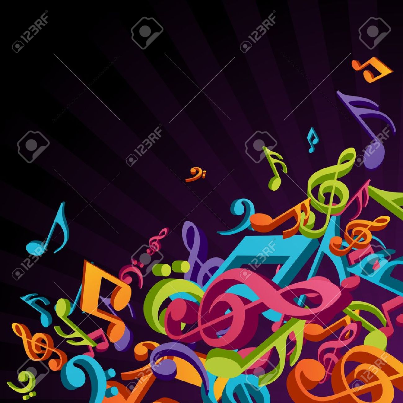 3d colorful music background with fly notes Stock Vector - 10578354