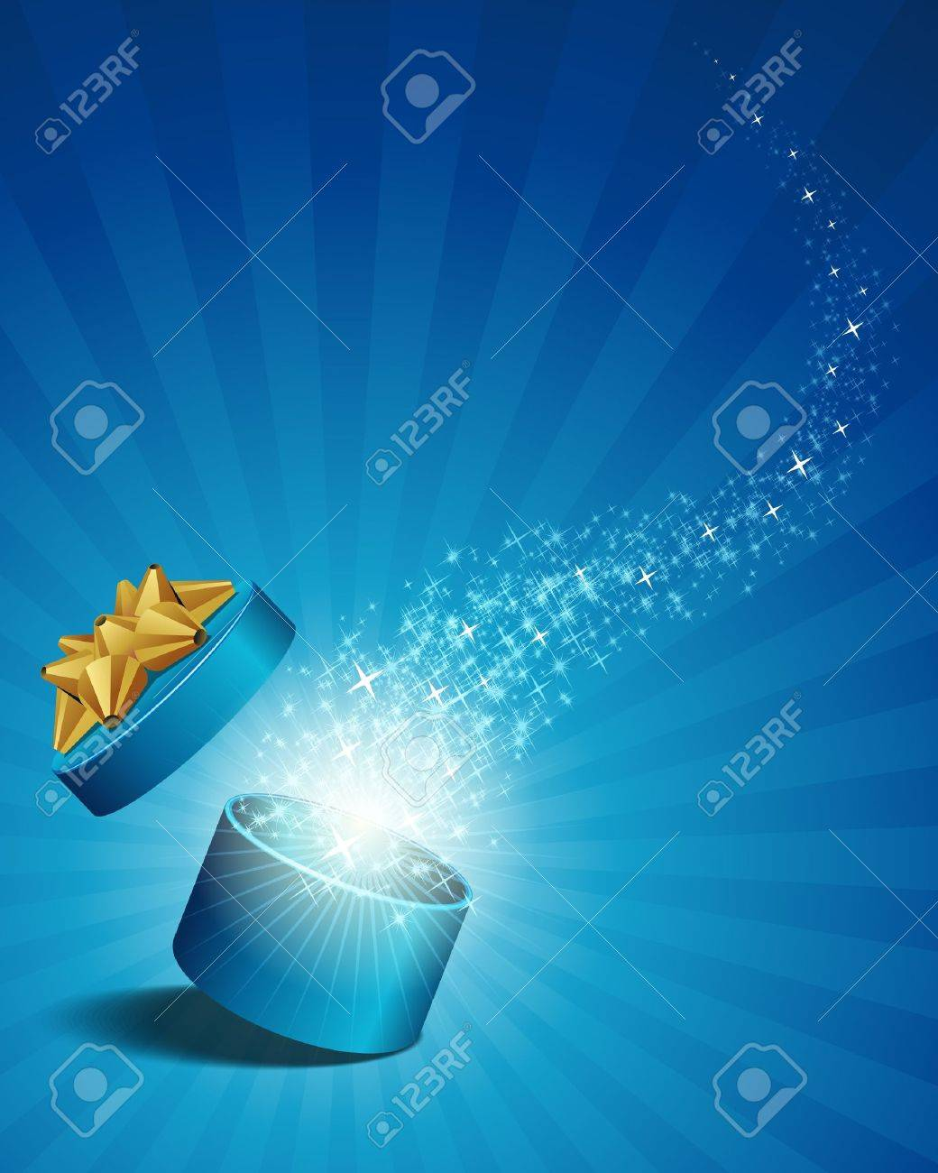 Open explore gift with fly stars vector background - 10553502