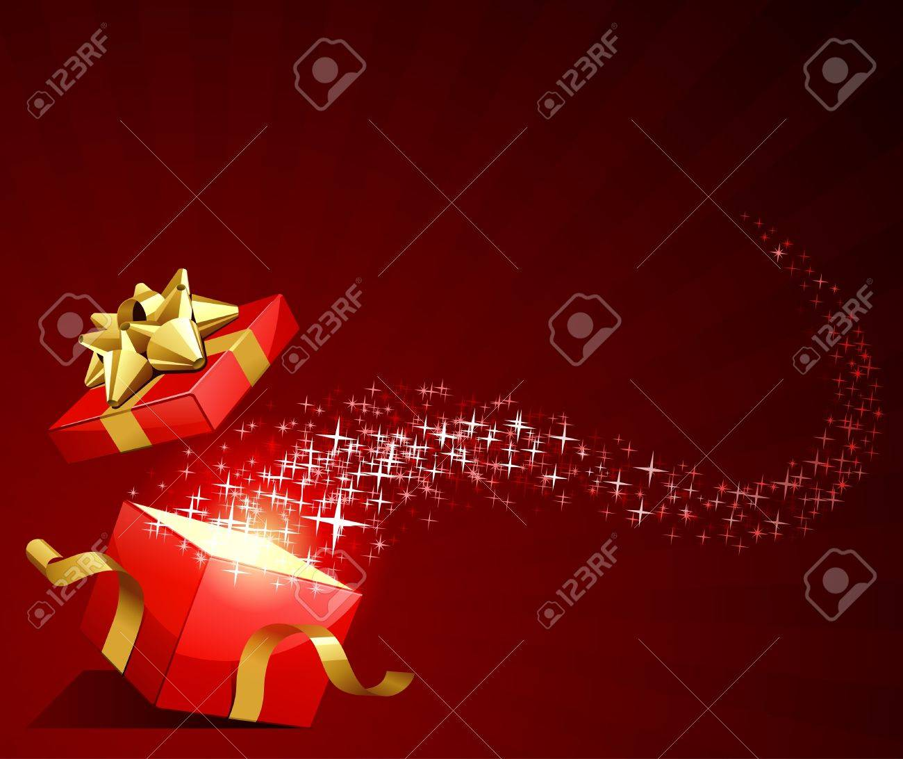 Open explore gift with fly stars vector background - 10553534