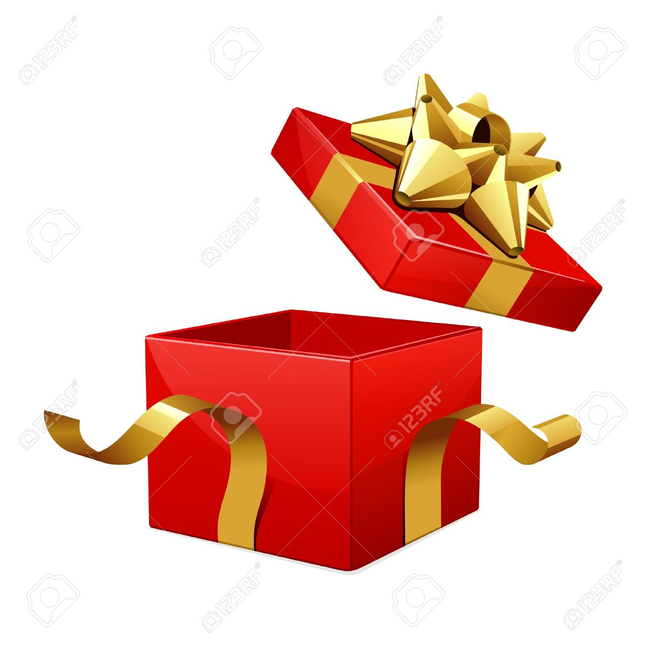 Vector Open Red Gift Box With Glossy Gold Bow Royalty Free Cliparts