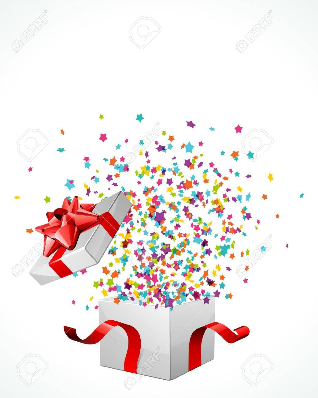 Open explore gift with fly stars vector Stock Vector - 10540931