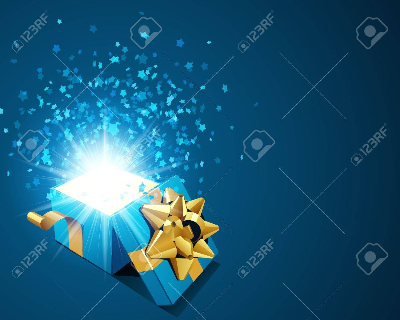 Open blue explore gift with fly stars vector background Stock Vector - 10540939