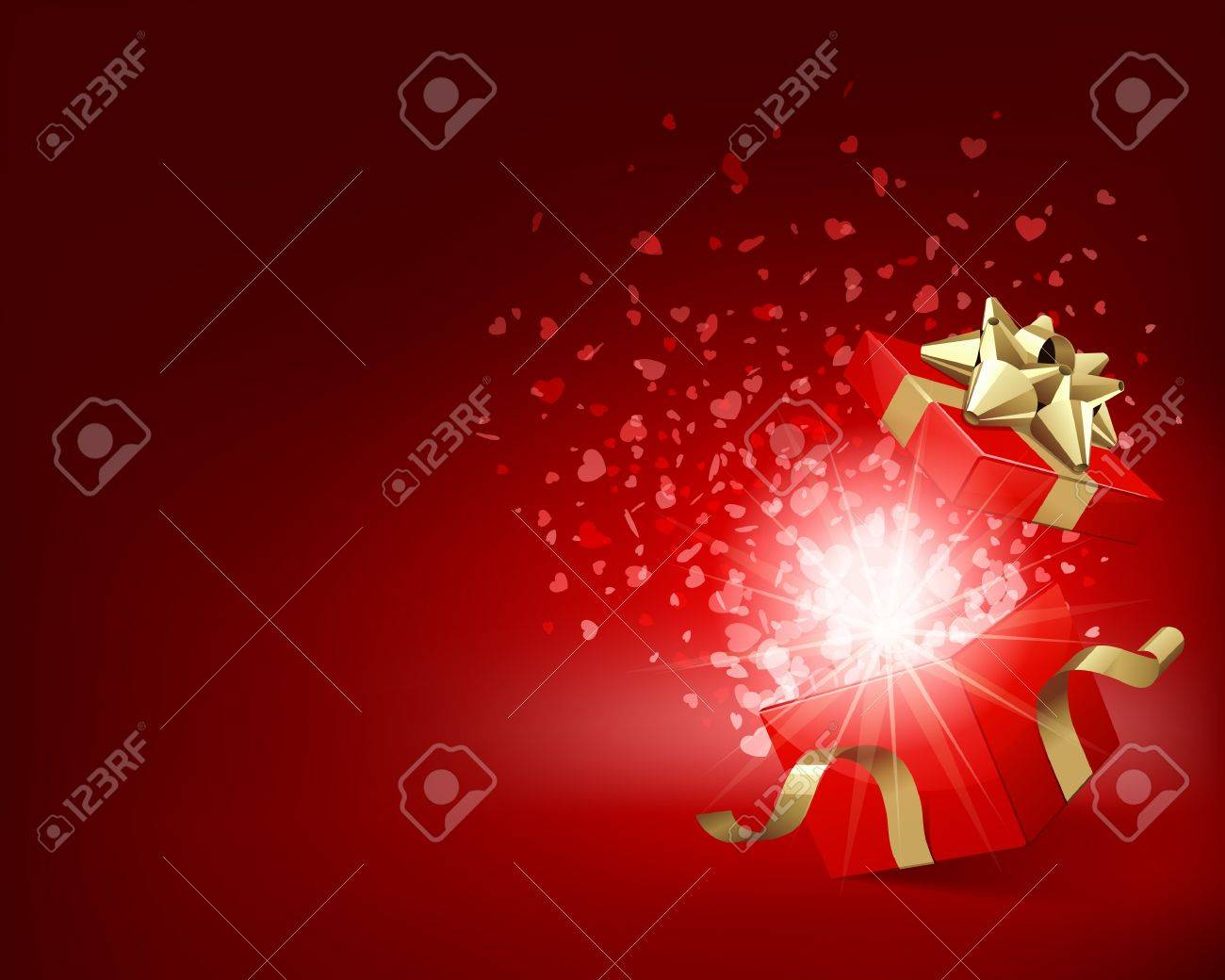 Open gift with fireworks from confetti Stock Vector - 10671093