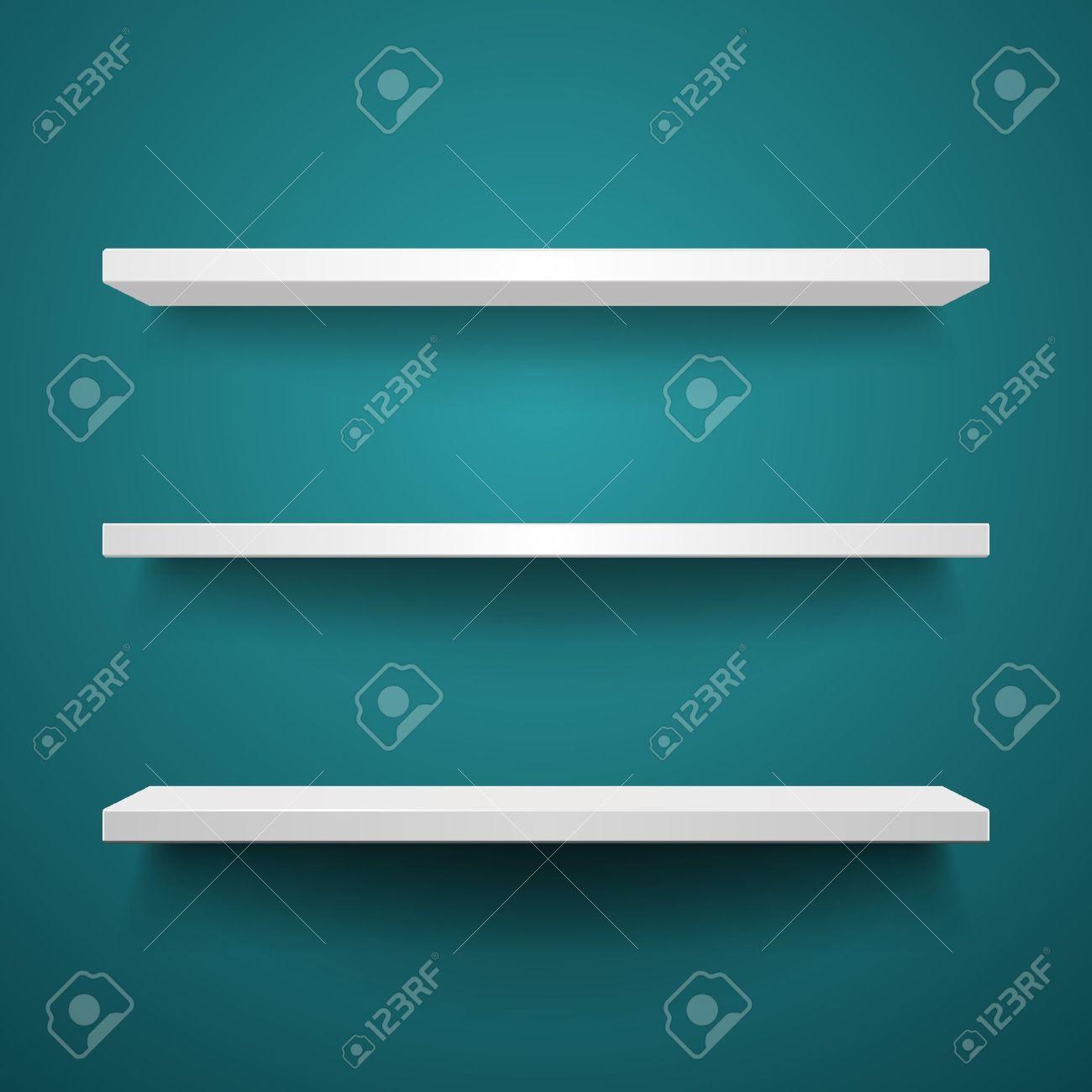 white shelves on wall background Stock Vector - 10671159