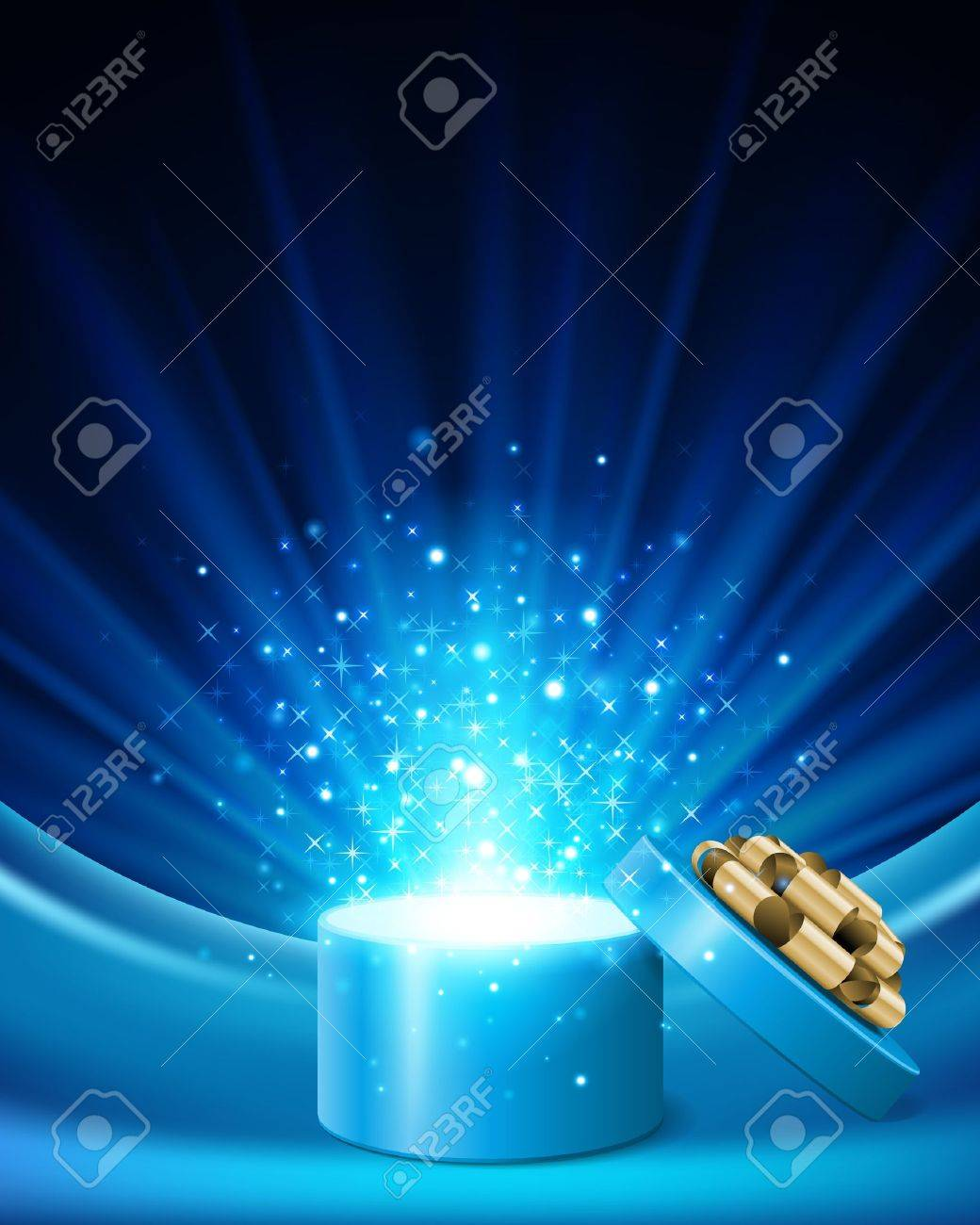 Open gift with fireworks from light background - 11324256