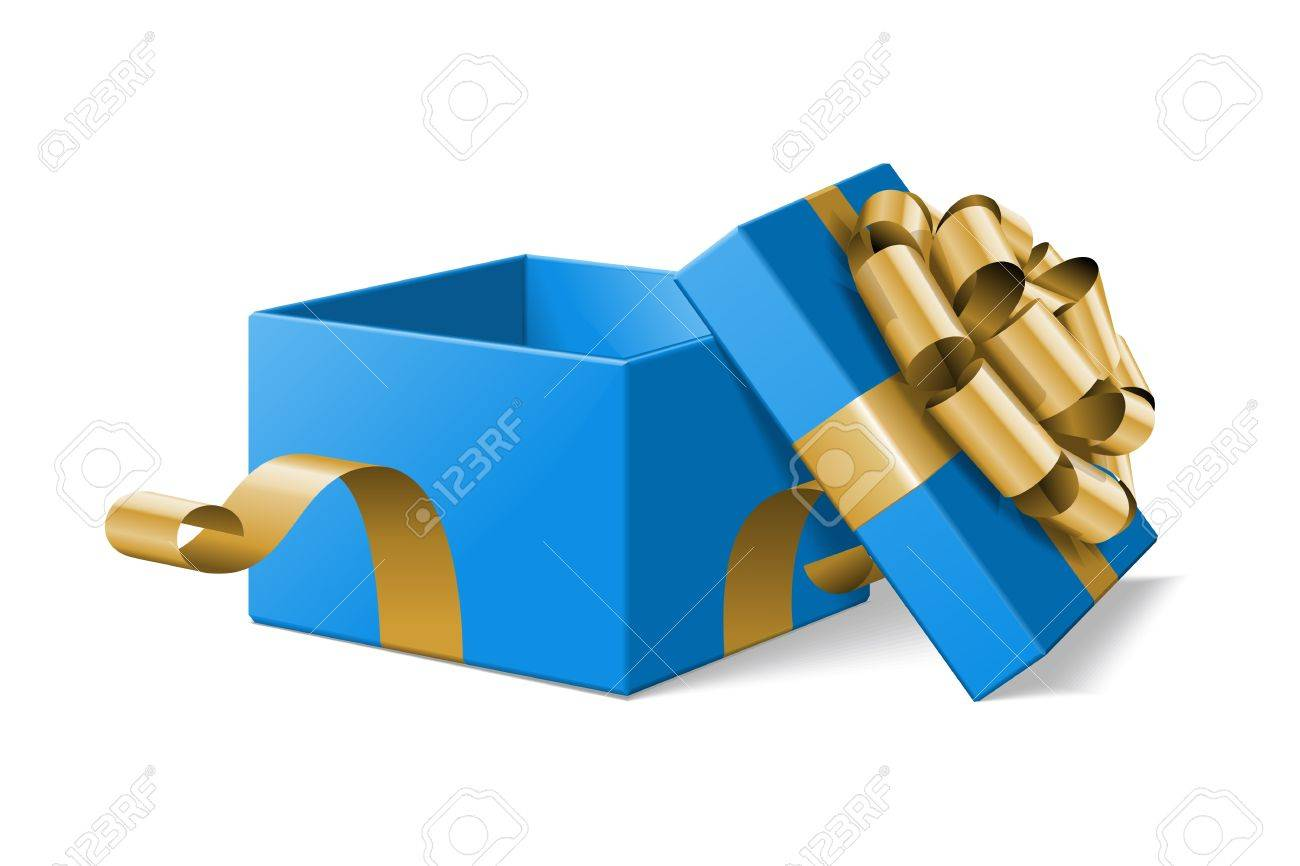 Open gift box with gold bow isolated on white illustration Stock Vector - 11324250