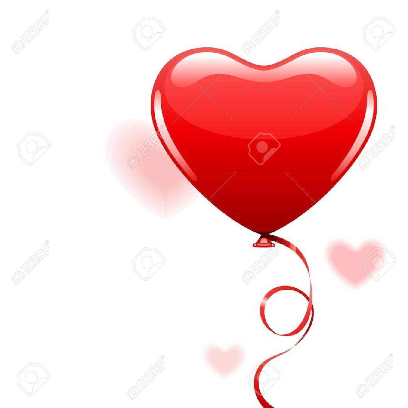 Heart as air balloon with ribbon Stock Vector - 11324372