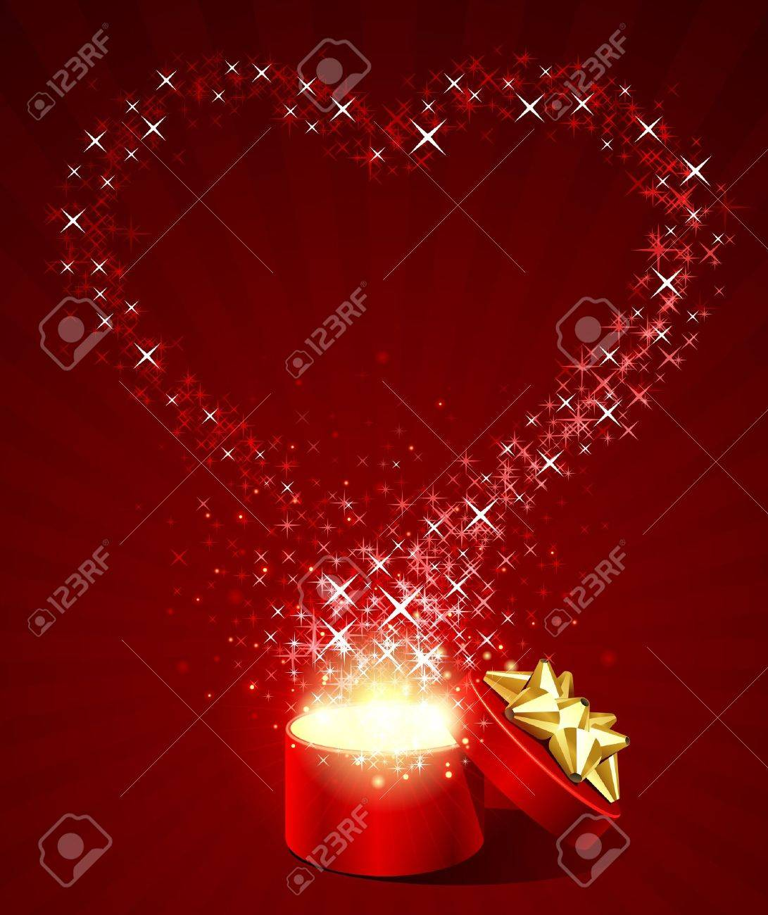Open gift box with fly stars heart shape Stock Vector - 11324408