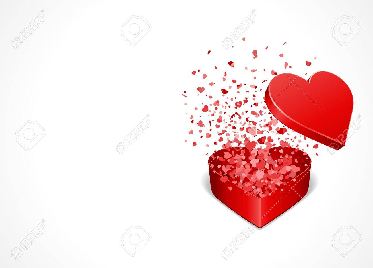 Heart gift present with fly hearts Valentine day vector background Stock Vector - 11895262