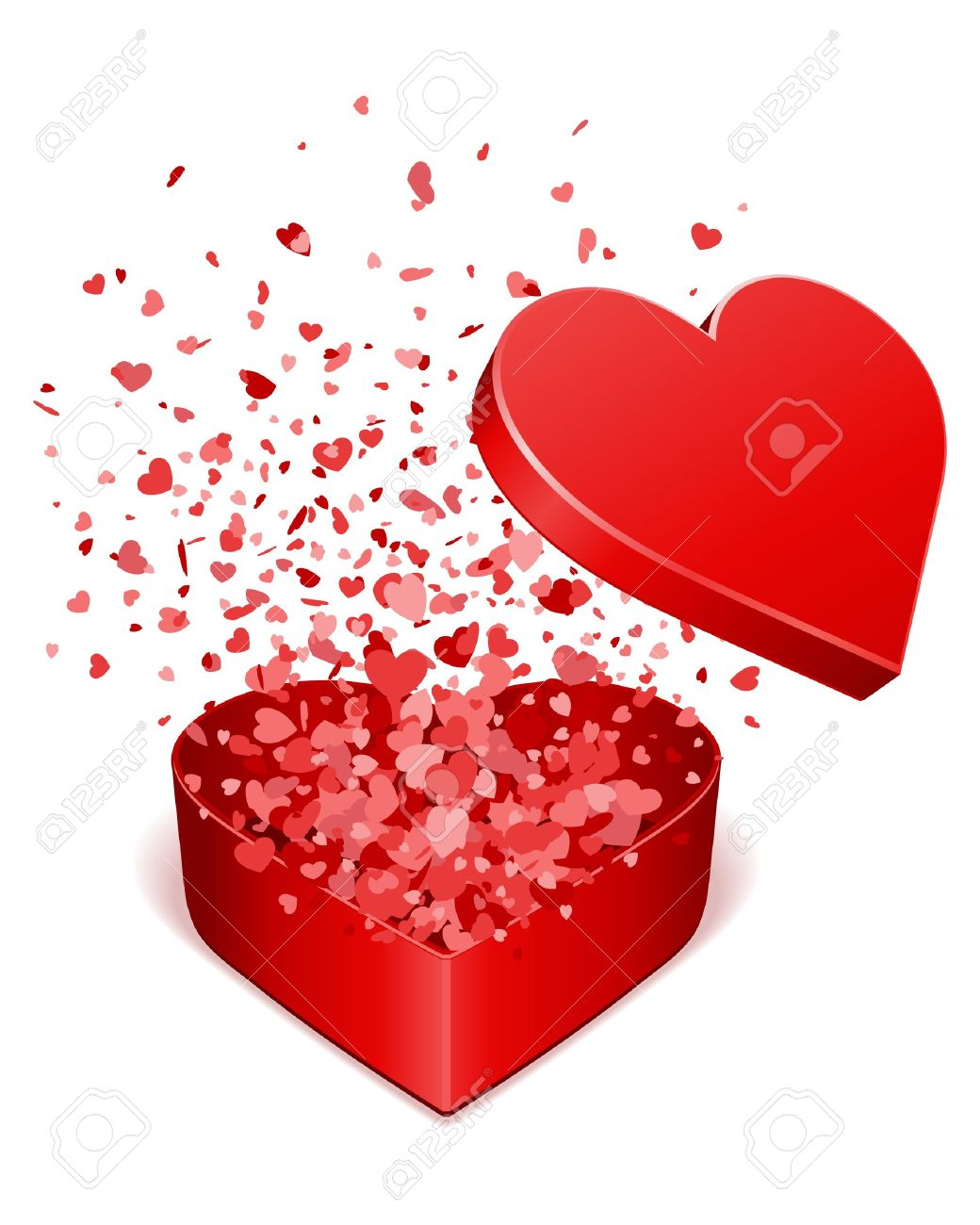 open gift present box with fly hearts valentine day vector