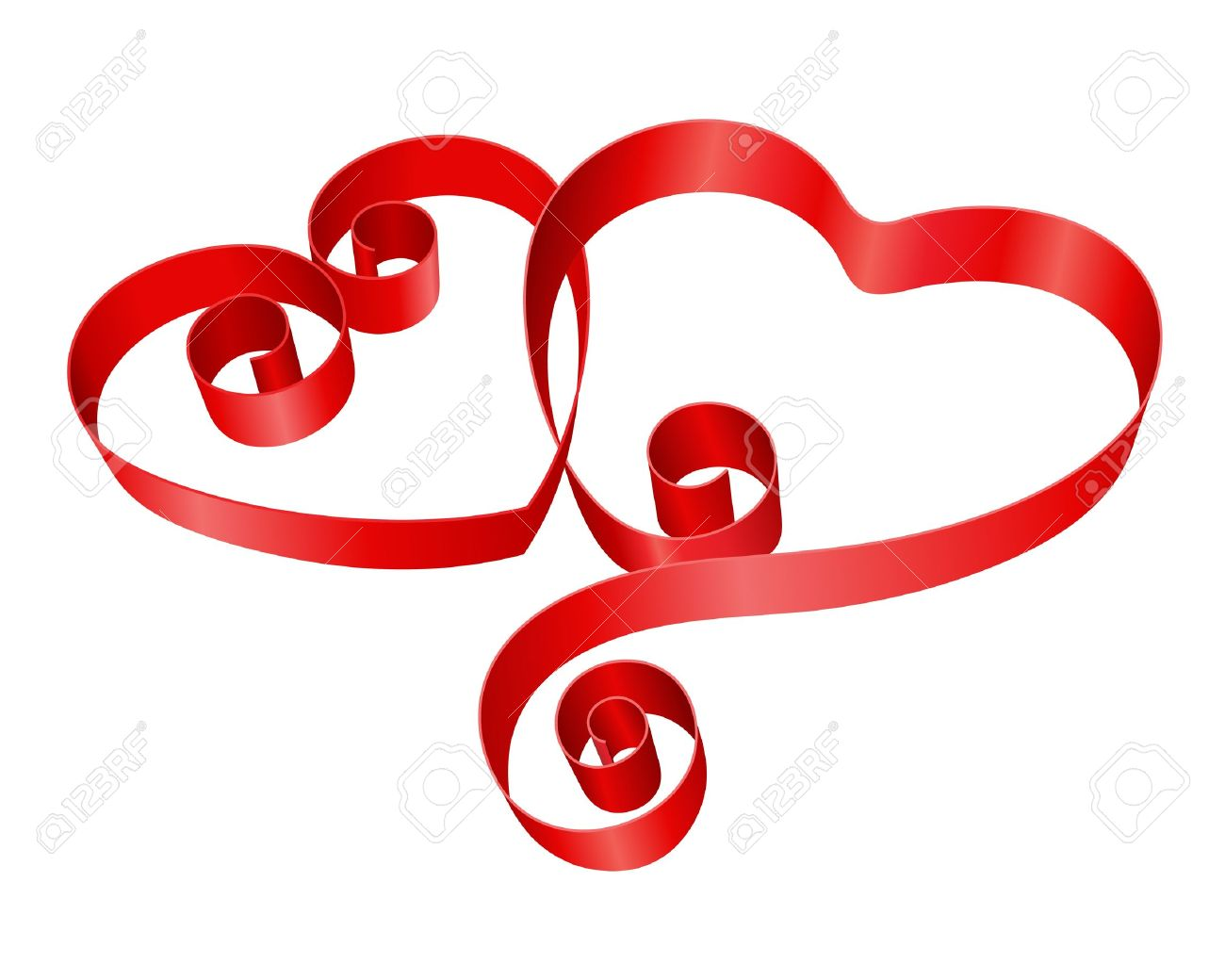 Two Red Hearts From Ribbon Valentine Day Vector Background Royalty