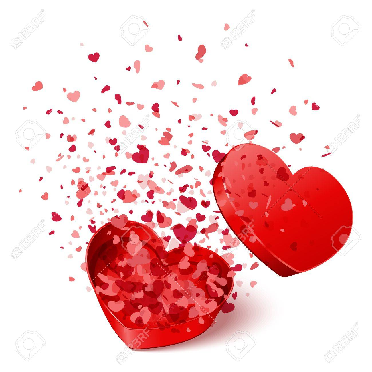 Heart Gift Present With Fly Hearts Valentine Day Vector Illustration..  Royalty Free Cliparts, Vectors, And Stock Illustration. Image 11895303.