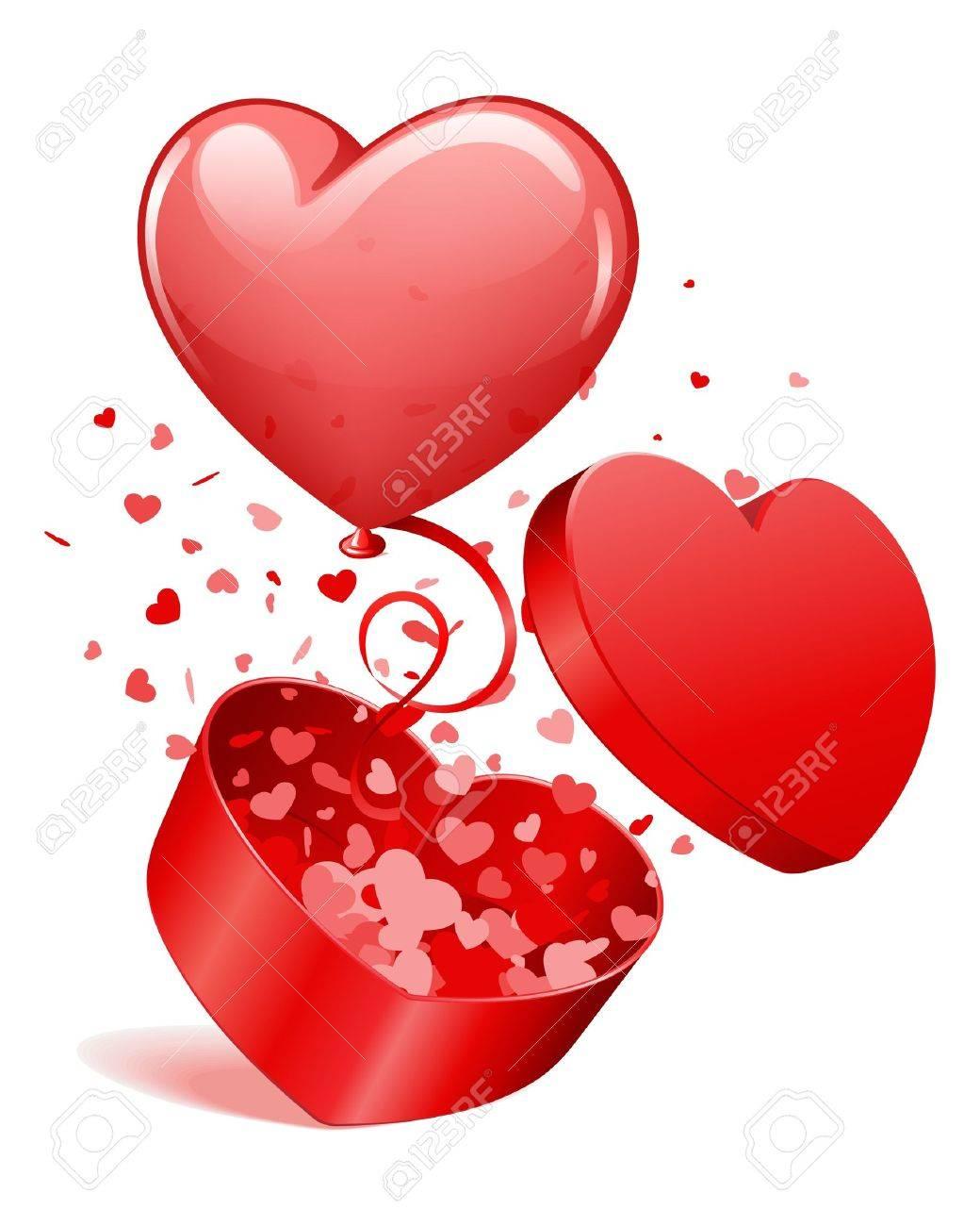 Image Avec Des Coeur cadeau à coeur ouvert avec des coeurs et des mouches ballon