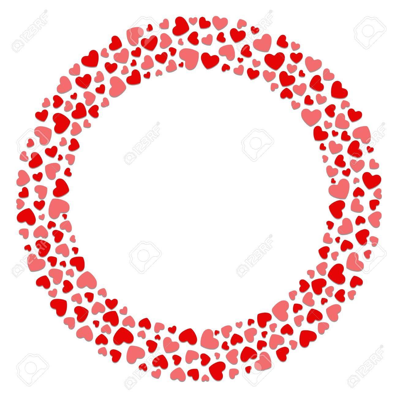 Round Hearts Frame Valentine Day Or Wedding Vector Background ...
