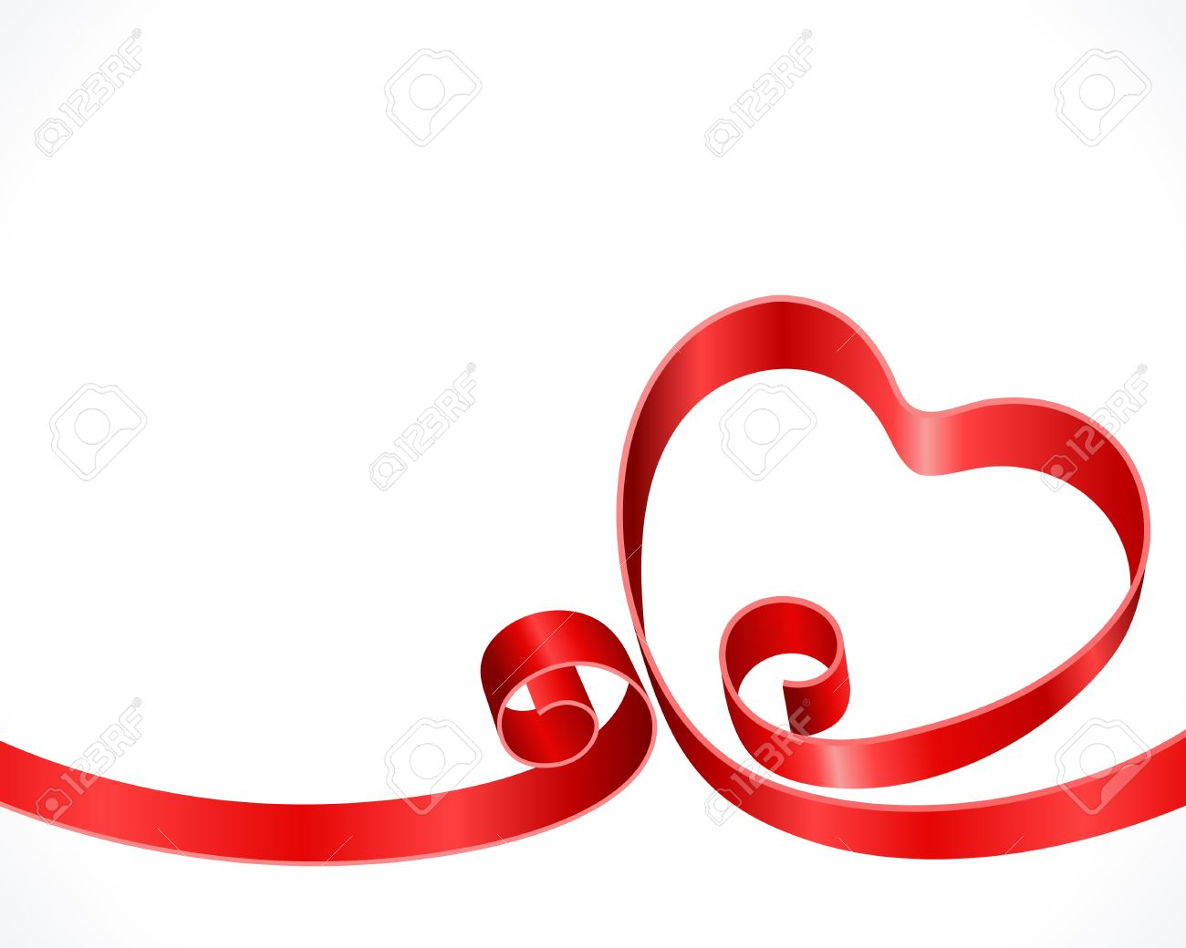 Heart from ribbon Valentine day background Stock Vector - 11895190