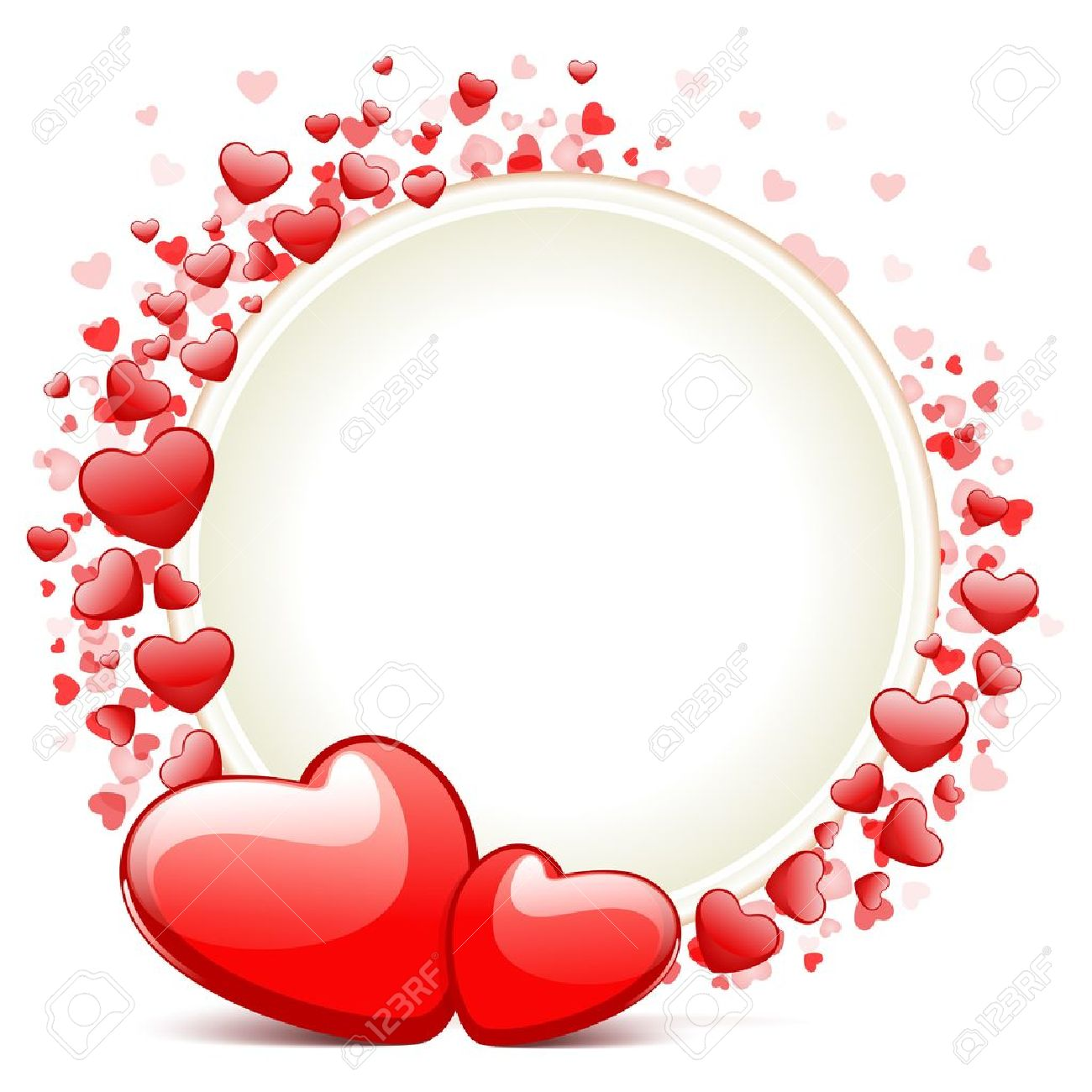 Hearts With Card Frame Valentine Day Vector Background Royalty Free ...