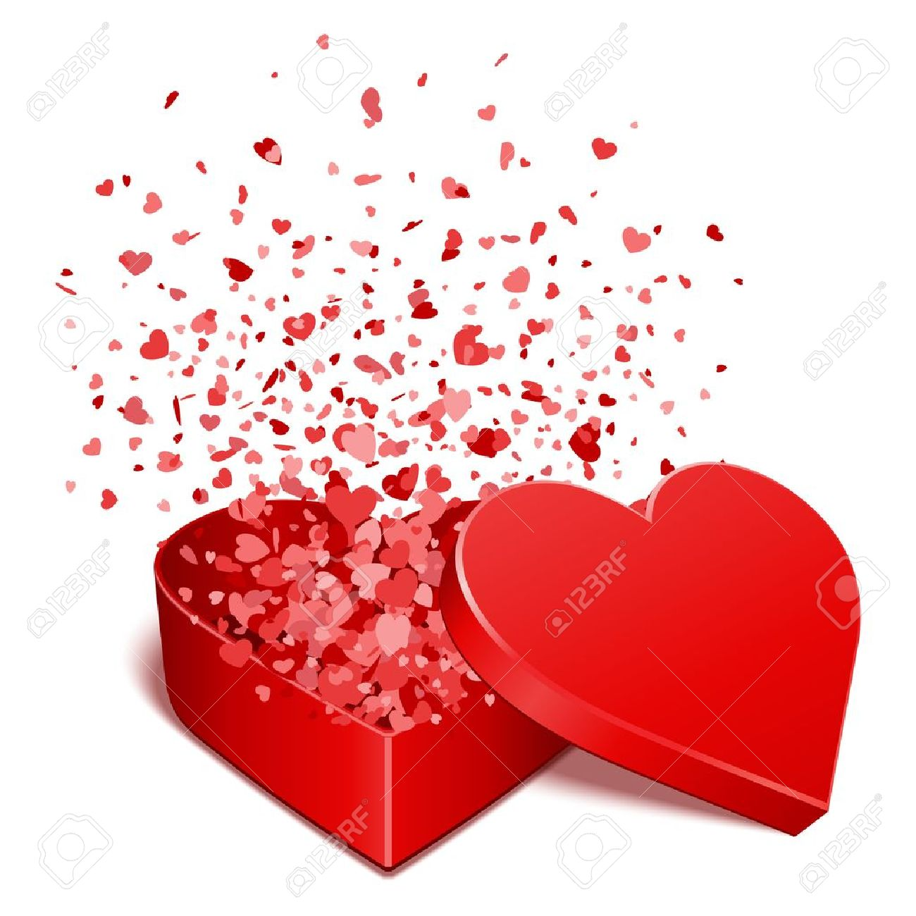 heart gift present with fly hearts valentine day vector