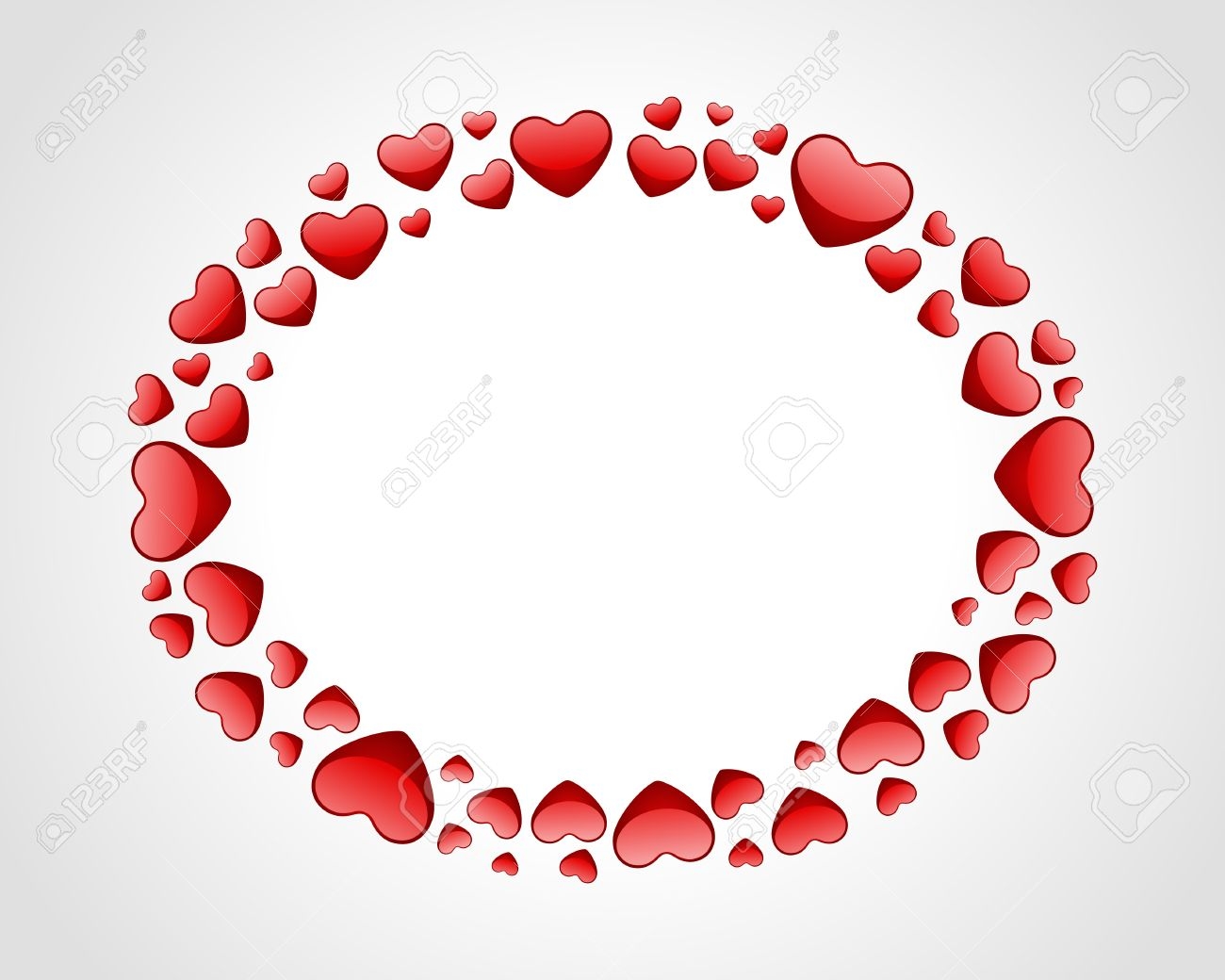 Valentine Day Card With Hearts Frame Vector Background Royalty Free ...