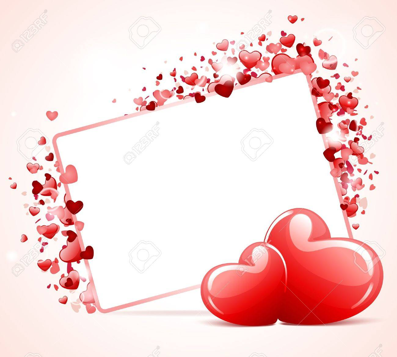 Valentine Day Card With Two Hearts Vector Background Royalty Free