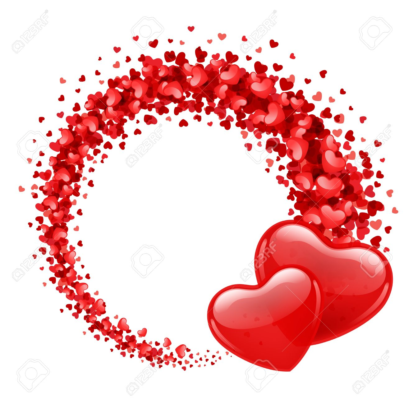 Valentine Day Vector Background With Two Hearts Royalty Free ...