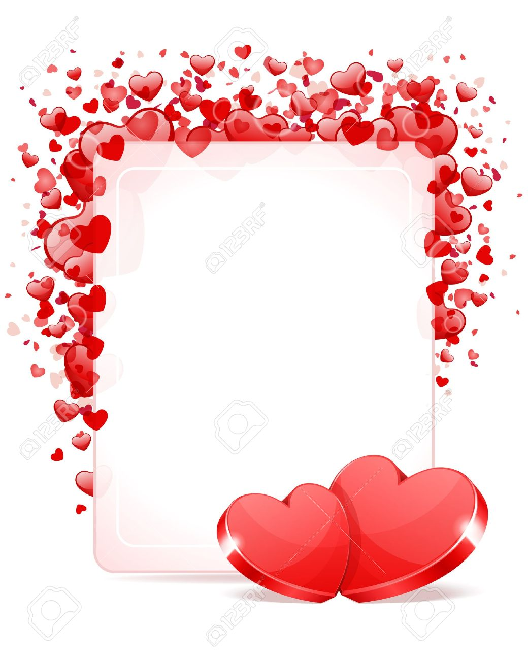 Two Hearts With Card Frame Valentine Day Vector Background Royalty