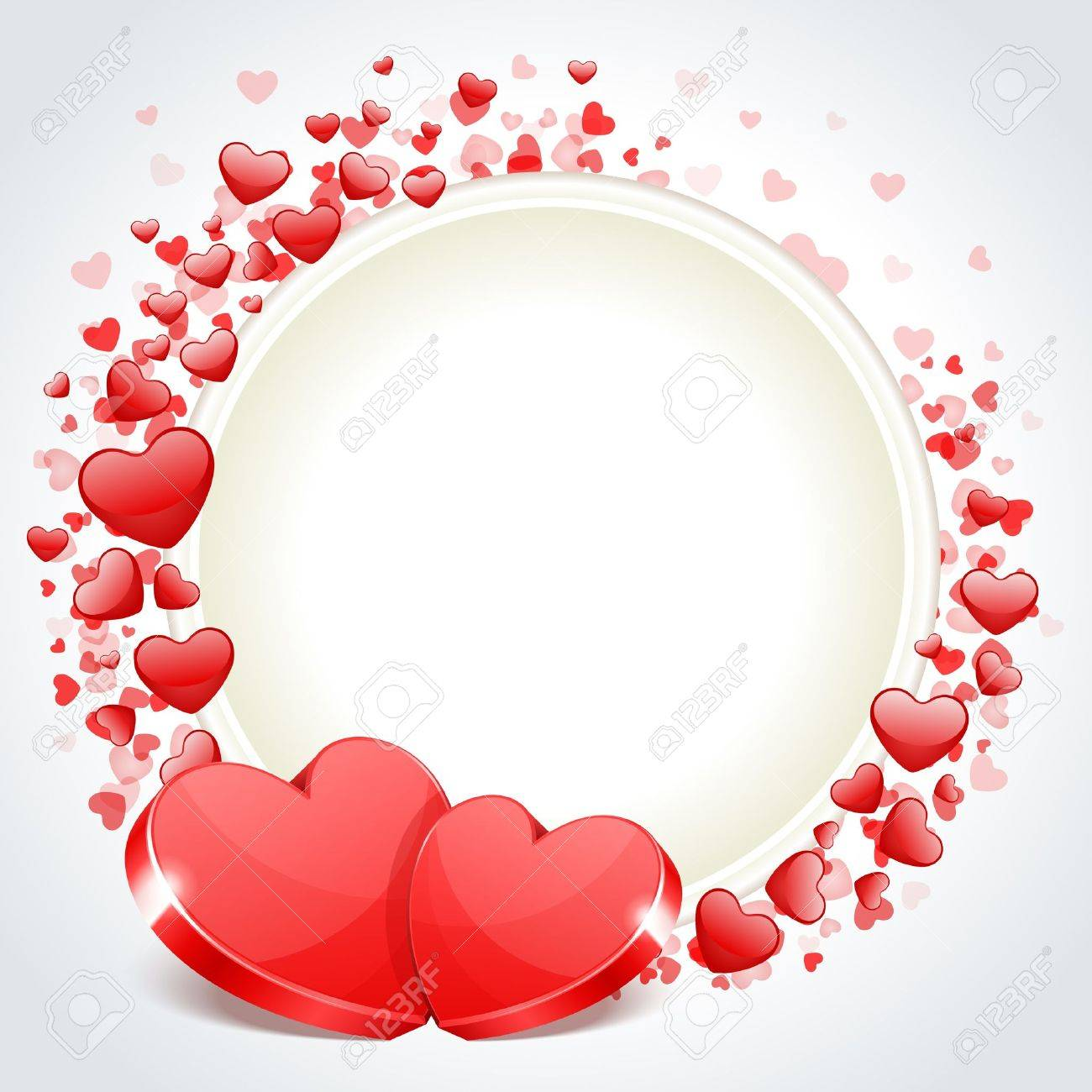 Valentine Day Frame Vector Background With Two Hearts Royalty Free ...