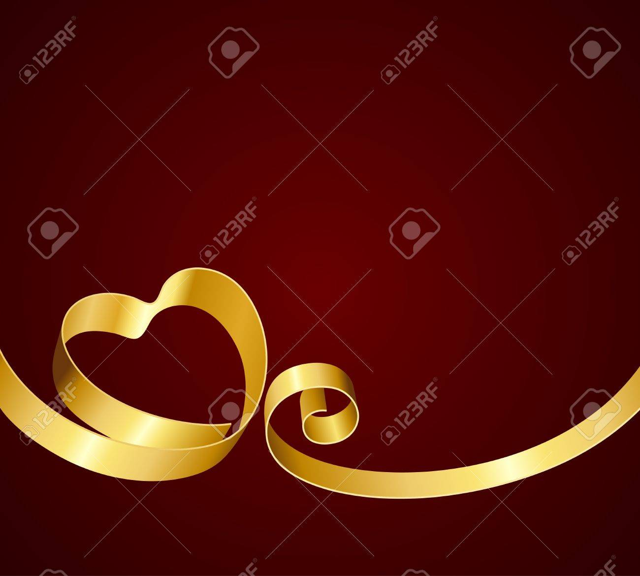 Heart from ribbon Valentine day vector background Stock Vector - 11917932