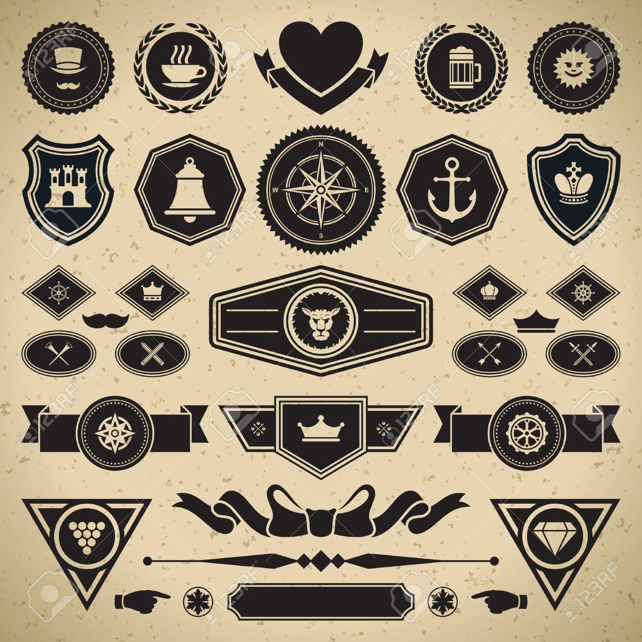 Vintage style retro emblem label collection vector design elements Stock Vector - 13014396