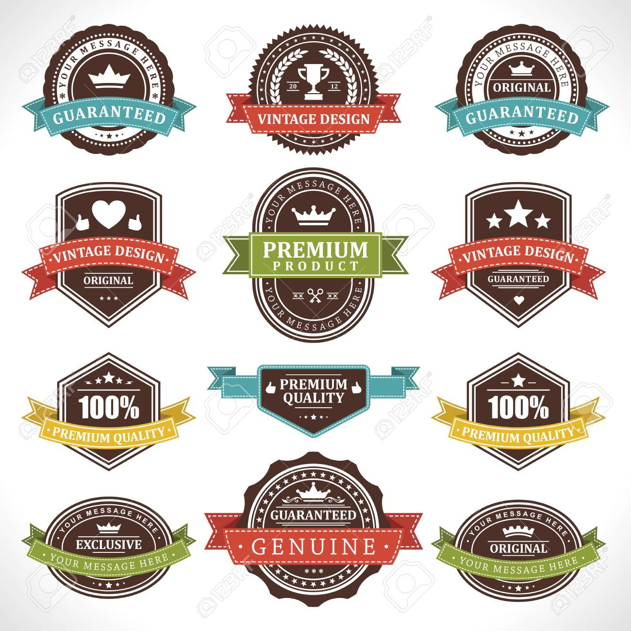 Vintage labels and ribbons set  design elements Stock Vector - 13500831