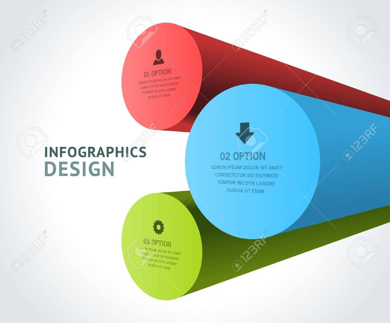 Design elements banner - Infographics Options Design Elements Vector Illustration 3d Rounds Banner Numbers And Icons Website Stock Vector