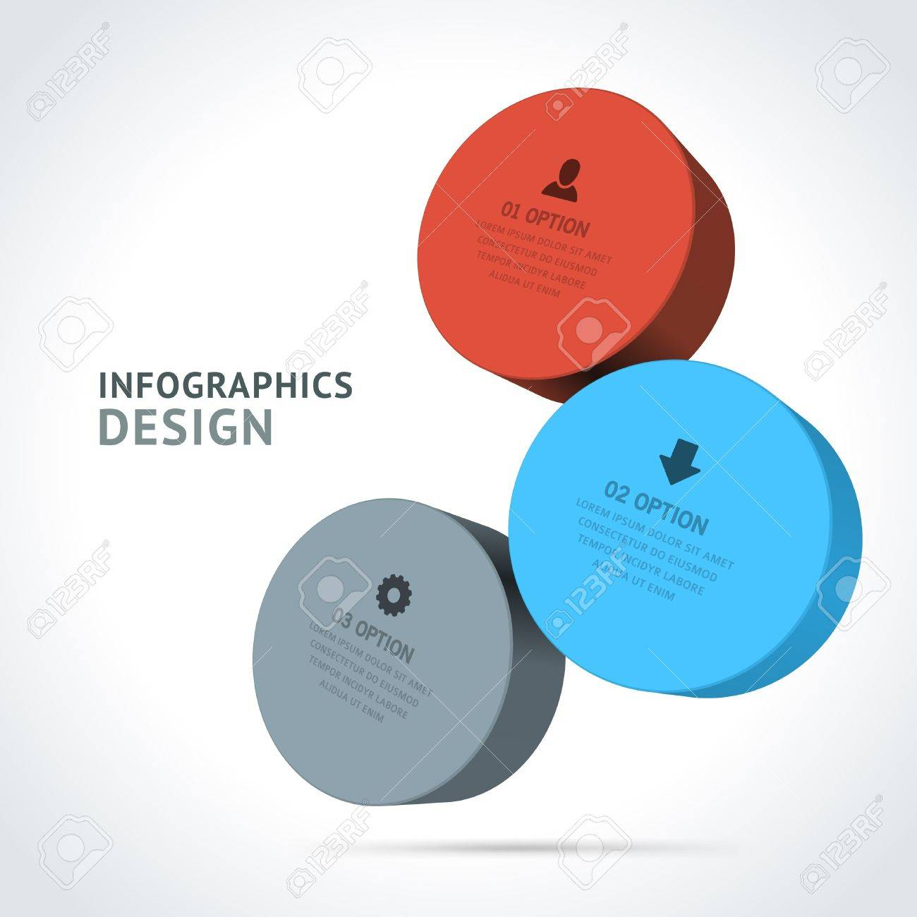 Infographics options design elements  Vector illustration  3d rounds banner numbers and icons website Stock Vector - 21716499