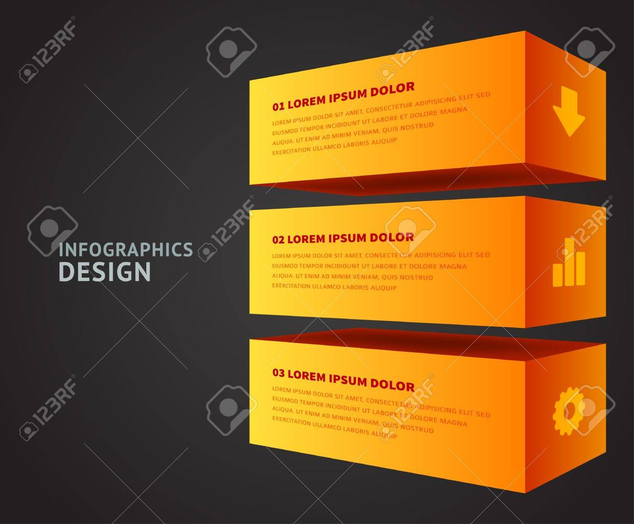 Infographics options design elements  Vector illustration  3d cubes banner numbers and icons website Stock Vector - 21736846