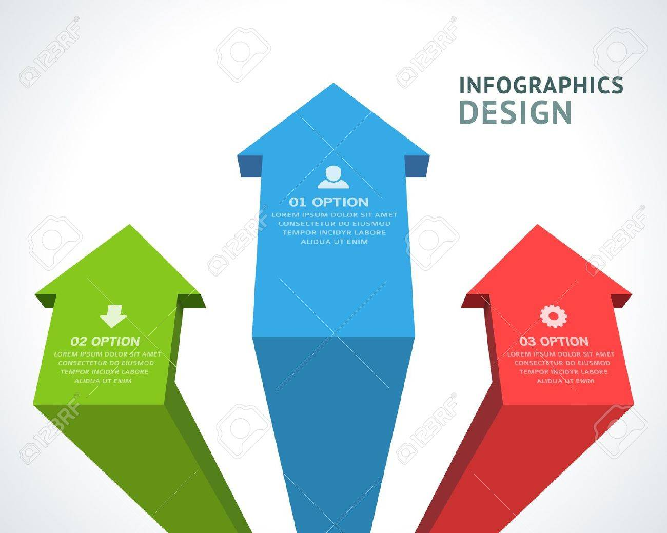 Design elements banner - Infographics Options Design Elements Vector Illustration 3d Arrows Banner Numbers And Icons Website Stock Vector