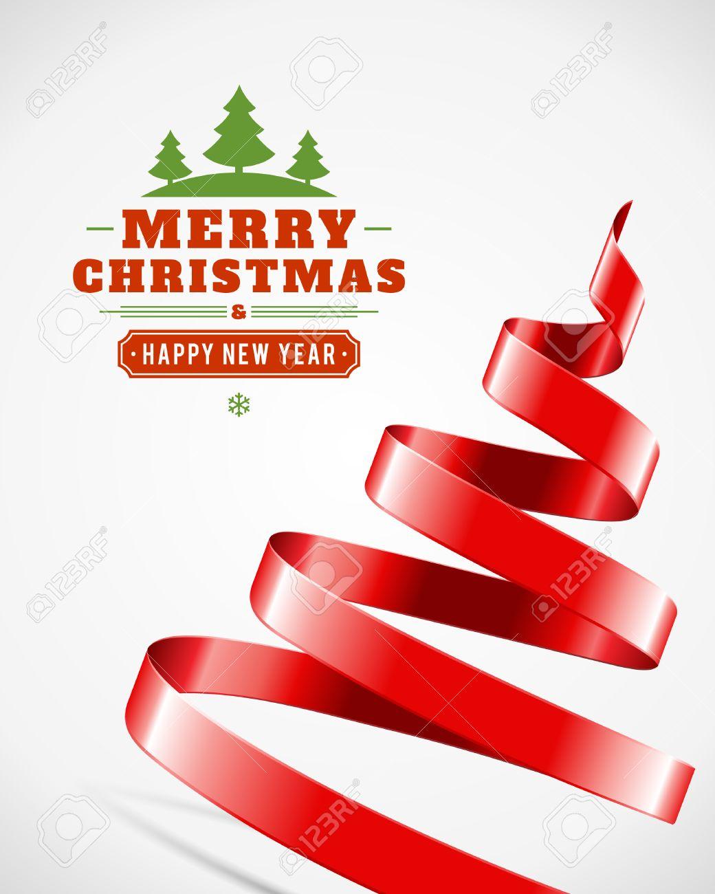 Christmas tree from ribbon vector background christmas card christmas tree from ribbon vector background christmas card or invitation stock vector 22377924 stopboris Gallery