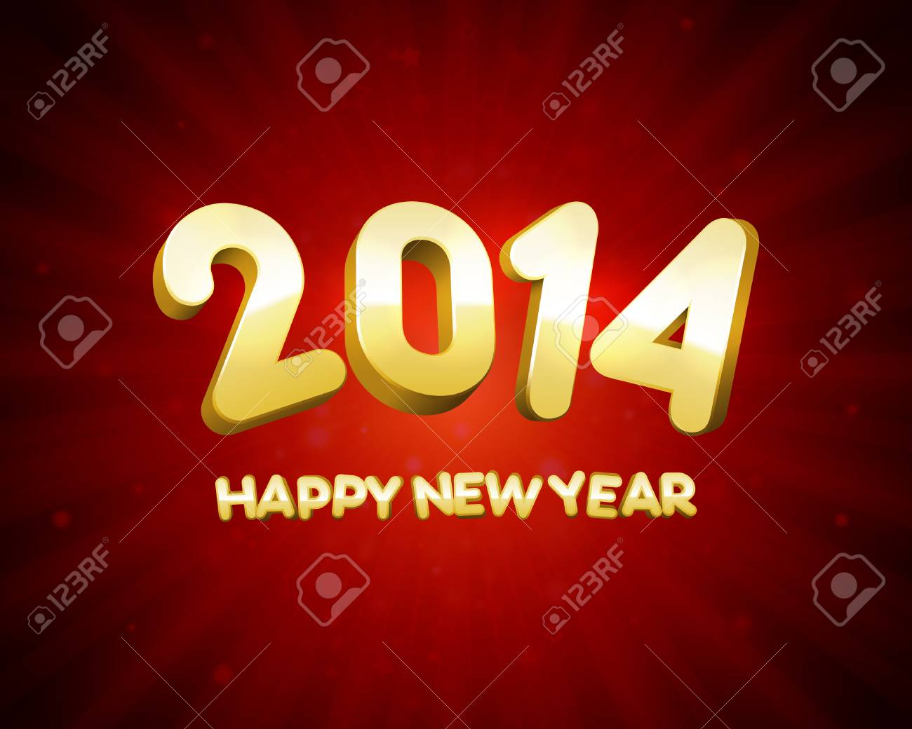 Happy New Year 2014 3d message and light vector background  Eps 10 Stock Vector - 22964598