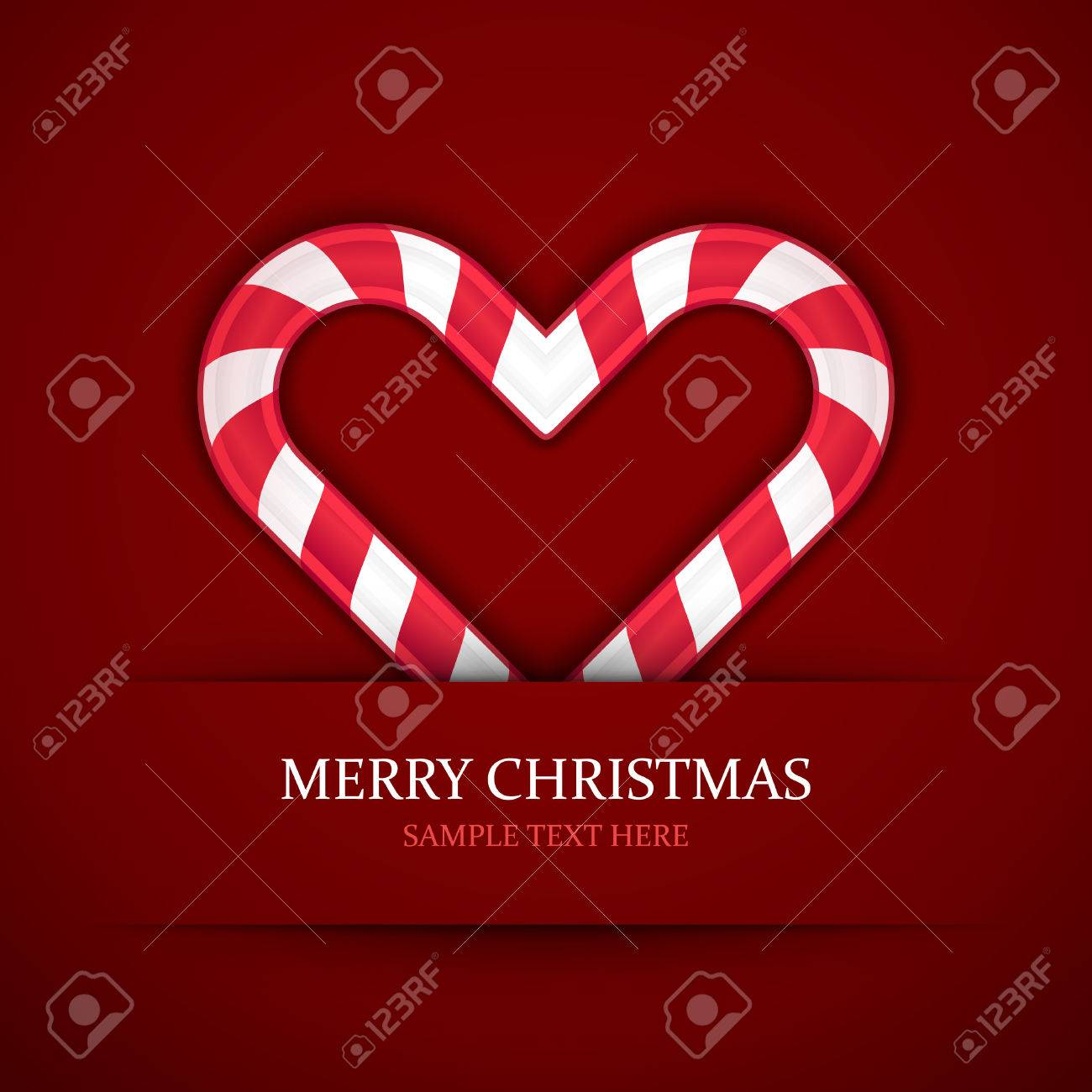 Christmas Candy Heart Vector Background Christmas Card Or Invitation