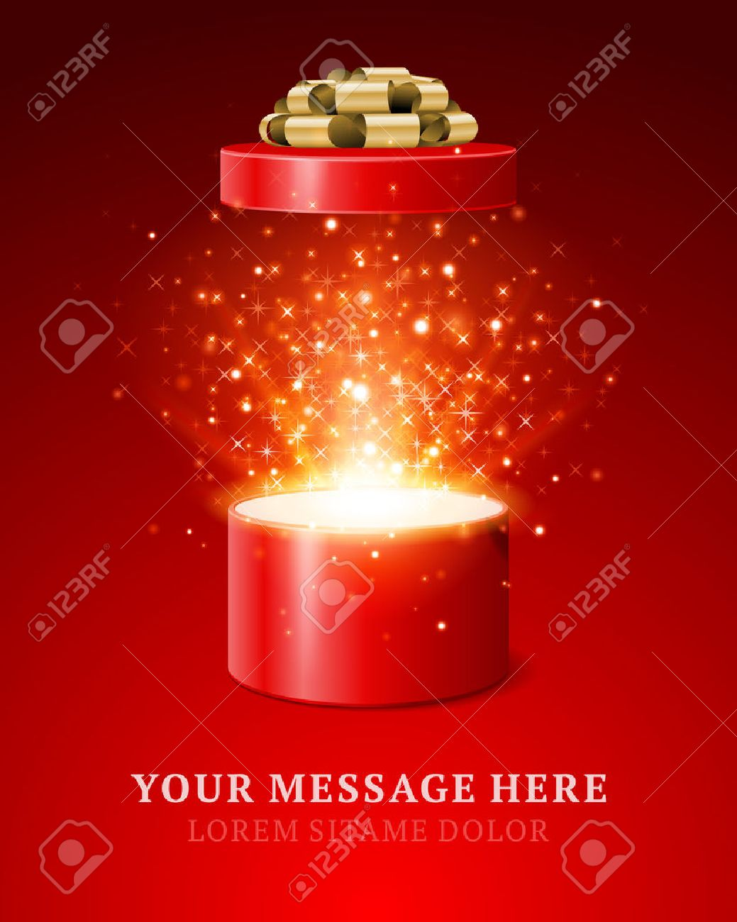Open gift and light fireworks christmas vector background  Merry Christmas and Happy New Year or Happy Birthday illustration Stock Vector - 22964489