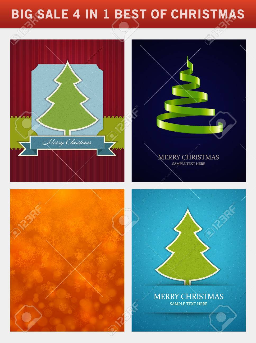 Christmas Vector Backgrounds Set Greeting Cards, Banners Or ...