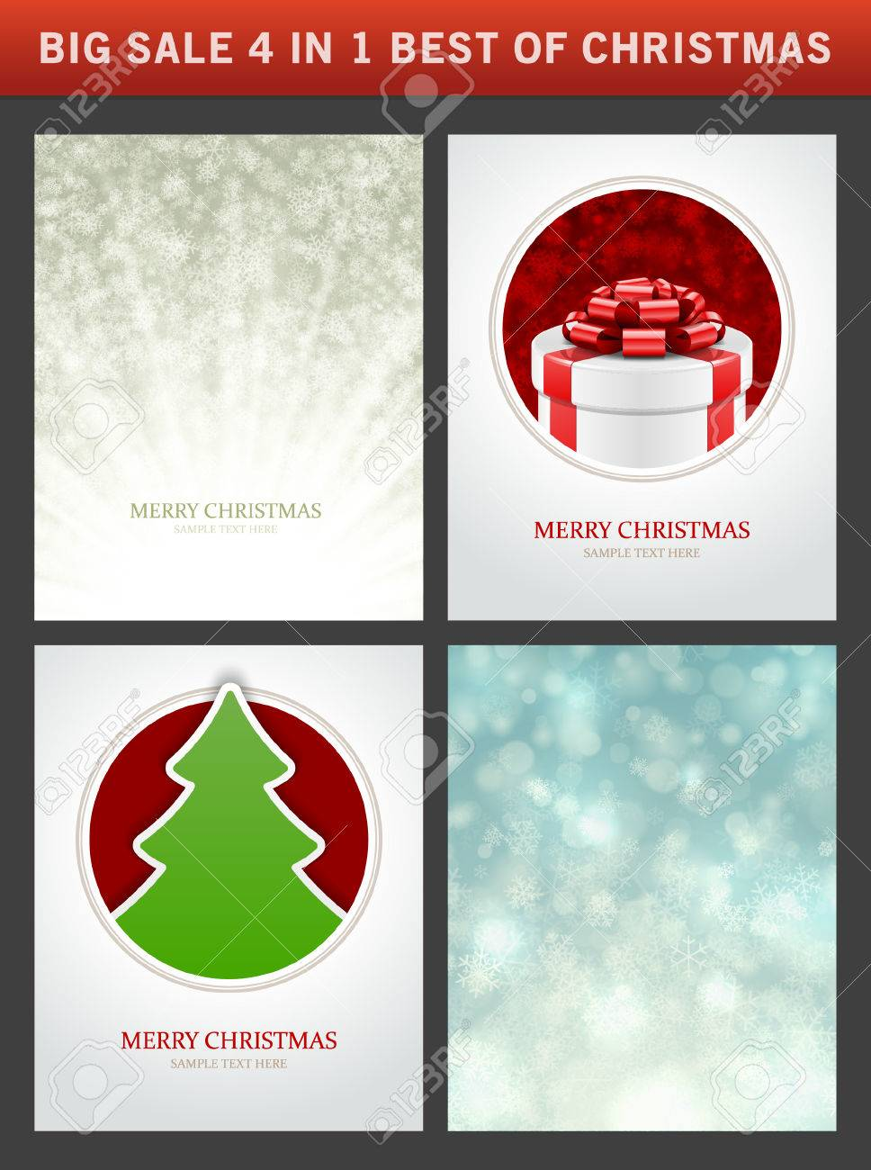 Christmas Vector Backgrounds Set Greeting Cards Banners Or