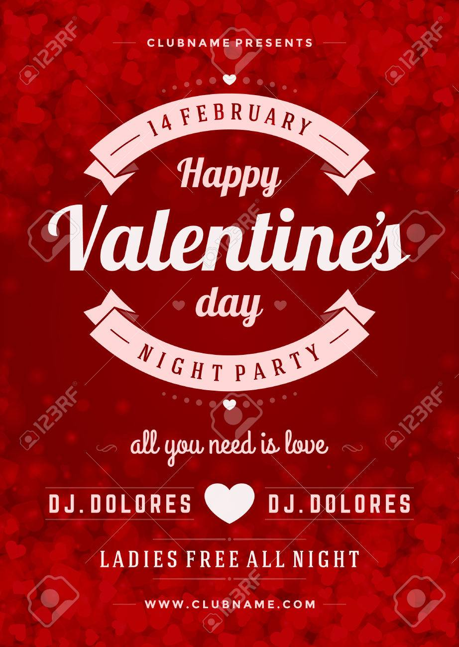 Happy Valentines Day Party Poster Design Template. Typography ...