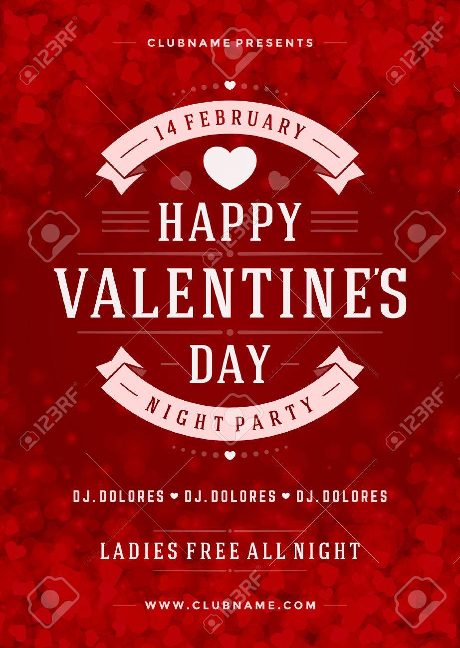 Happy Valentines Day Party Poster Design Template Typography