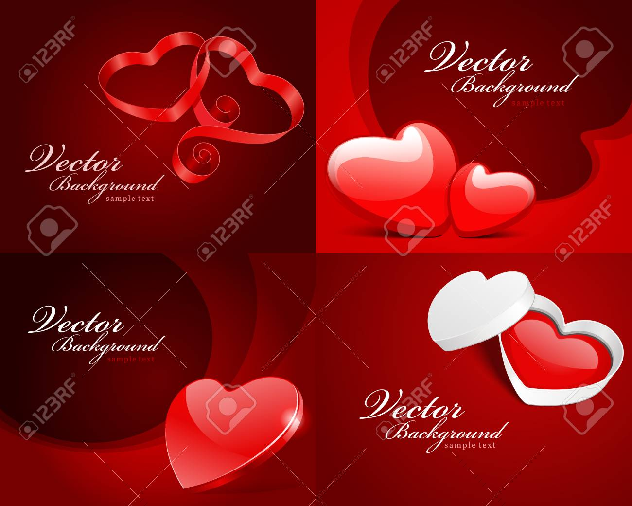 Set Happy Valentines Day Greetings Cards Vector Background Royalty