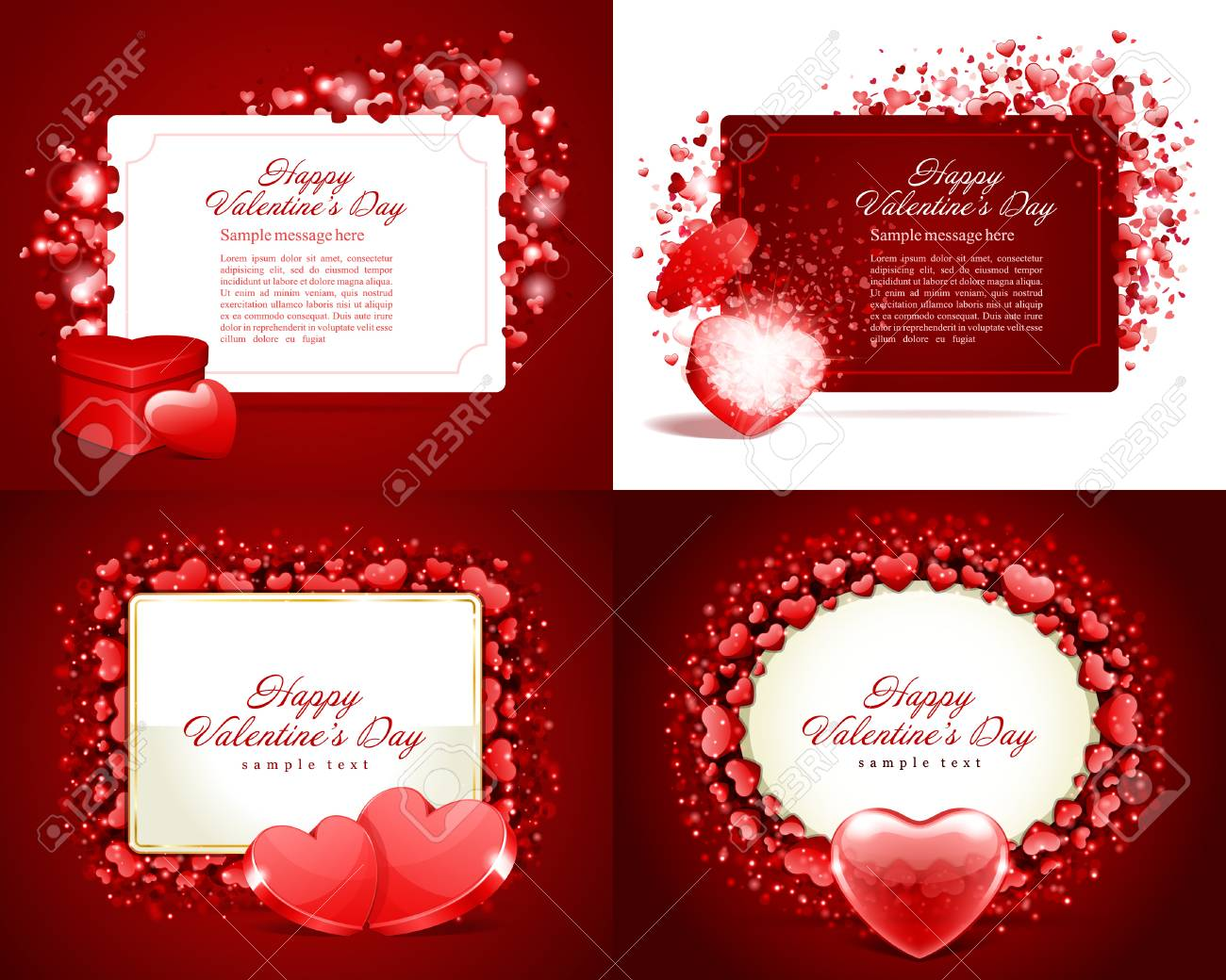 Set happy valentines day greetings cards vector background design set happy valentines day greetings cards vector background design valentines day wishes hearts m4hsunfo