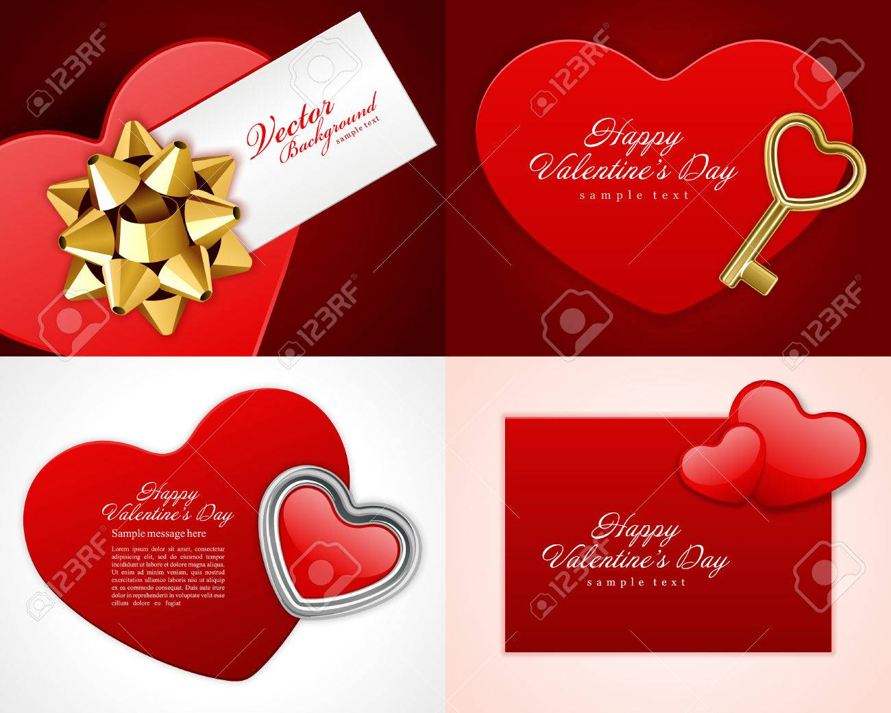Set Happy Valentines Day Greetings Cards Vector Background Design. Valentineu0027s  Day Wishes, Hearts,